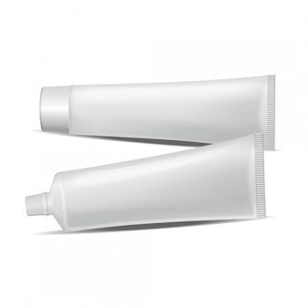Zestaw tub plastikowych na leki lub kosmetyki - pasta do zębów, krem, żel, pielęgnacja skóry. szablon opakowania