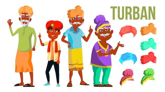 Zestaw turbanowy. klasyczna i nowoczesna czapka turbanowa. hindus, sułtan, muzułmanin. portret męskiej głowy
