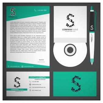 Zestaw turkusowy biznes branding