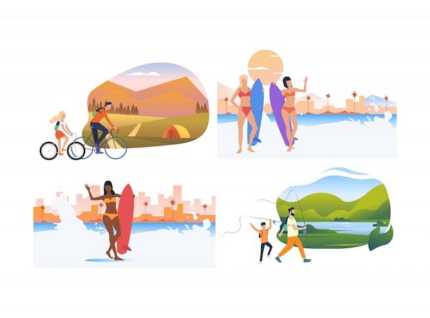 Zestaw turystów relaksujący na wakacjach