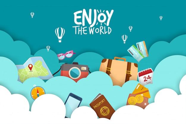 Zestaw turystyczny podróżuj po całym świecie.