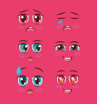 Zestaw twarzy anime