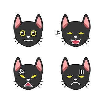 Zestaw twarzy czarnego kota przedstawiający różne emocje