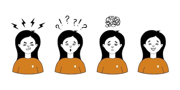 Zestaw twarzy dziewcząt wyrażających różne emocje, takie jak złość, smutek, radość, zaskoczenie.