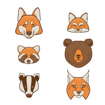 Zestaw twarzy dzikich zwierząt. ilustracja
