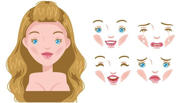 Zestaw twarzy kobiet. nowoczesna moda na asortyment. młoda głowa kobiety, kobieca fryzura. blond włosy.
