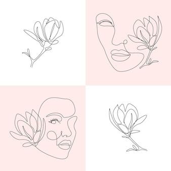 Zestaw twarzy kobiety i kwiaty w jednym rysunku linii. streszczenie vector portret kobiety z kwiatem magnolii. koncepcja piękna, druk, pocztówka, plakat, okładki, opowiadania, karty, ulotki, banery
