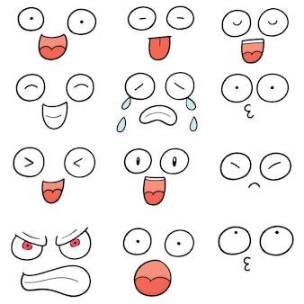 Zestaw twarzy kreskówki