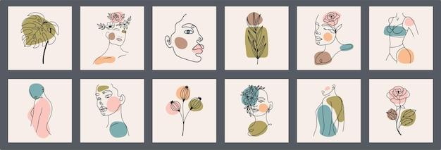 Zestaw twarzy, liści, kwiatów, abstrakcyjnych kształtów