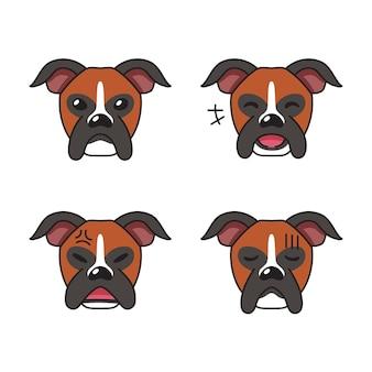 Zestaw twarzy psa boksera postaci pokazujących różne emocje