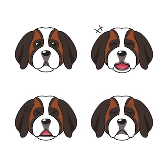 Zestaw twarzy psa świętego bernarda przedstawiający różne emocje