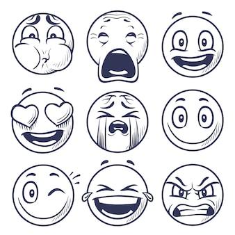 Zestaw twarzy wyrażenia buźki