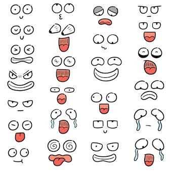 Zestaw twarzy z kreskówek