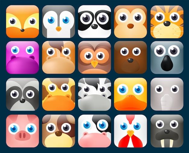Zestaw twarzy zwierząt