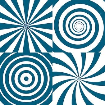 Zestaw twirls. psychodeliczne kręgi i wir. spirala kręcić koło tło, ilustracja twist okrągły wzór