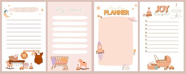 Zestaw tygodniowego i dziennego planowania, lista radości, lista rzeczy do zrobienia z uroczym doodle boho baby w skandynawskim stylu.