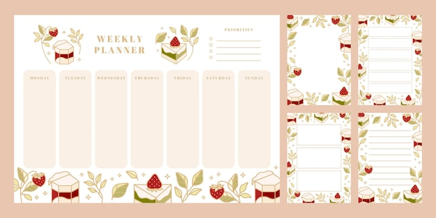 Zestaw tygodniowego terminarza, codziennej listy rzeczy do zrobienia, szablonów notatników, szkolnego harmonogramu z ręcznie rysowanymi elementami ciasta, kwiatów i truskawek
