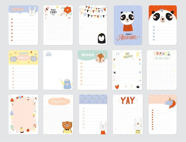 Zestaw tygodniowych planerów i list rzeczy do zrobienia z ilustracjami uroczych zwierzątek i modnymi napisami. szablon programu, planistów, list kontrolnych i innych papeterii dla dzieci. odosobniony.
