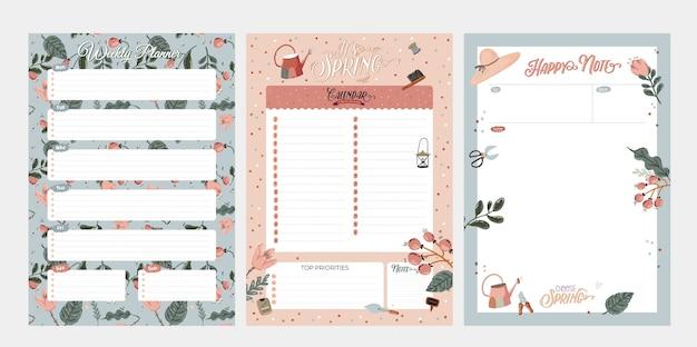 Zestaw tygodniowych planerów i list rzeczy do zrobienia z uroczymi letnimi ilustracjami i modnymi napisami.