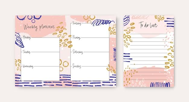 Zestaw tygodniowych planerów i szablonów list rzeczy do zrobienia ozdobionych kolorowymi pociągnięciami pędzla i rozmazami