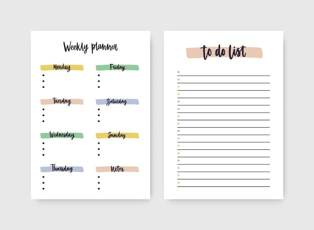 Zestaw tygodniowych planerów i szablonów list rzeczy do zrobienia z nagłówkami wyróżnionymi śladami farby.