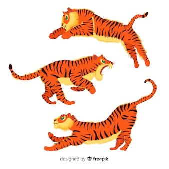 Zestaw tygrysów w stylu kreskówki w różnych pozycjach