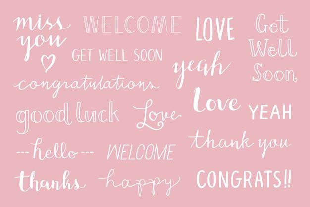 Zestaw typografii odręcznego pozdrowienia