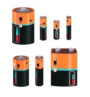 Zestaw typów baterii