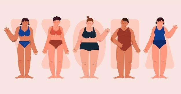 Zestaw typów kobiecych kształtów ciała z płaską ręką