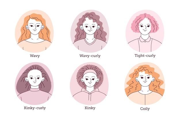 Zestaw typów kręconych włosów z płaską ręką