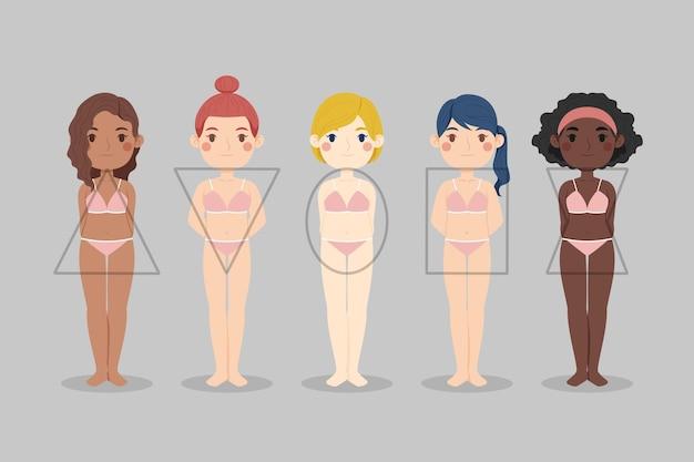 Zestaw typów kreskówek kształtów kobiecego ciała