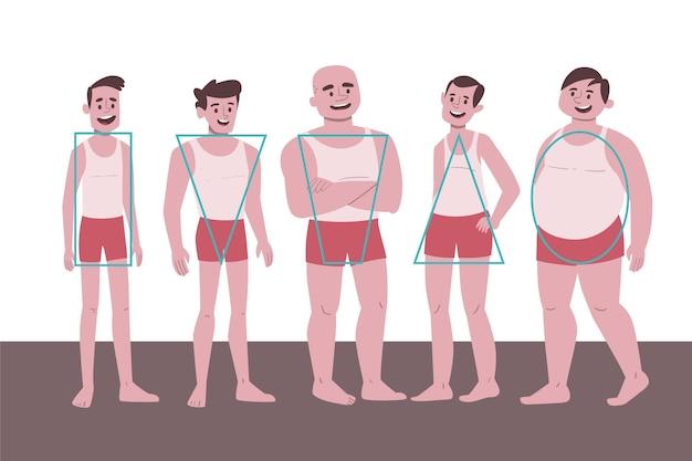 Zestaw typów kreskówek męskiego ciała