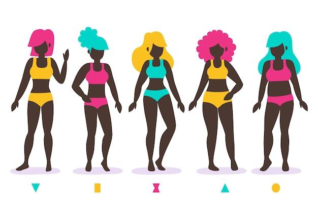 Zestaw typów kształtów kobiecego ciała wyciągnąć rękę