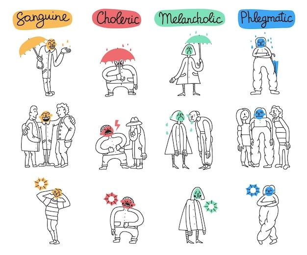 Zestaw typów temperamentu z postawami osób do sytuacji życiowych na białym tle ręcznie rysowane ilustracji wektorowych