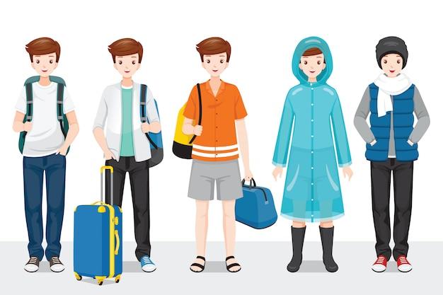 Zestaw ubrań człowieka, ubranych w różnych porach roku