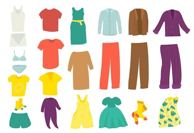 Zestaw ubrań element mody na białym tle ilustracji wektorowych koszula sukienka spódnica kurtka projekt ko...