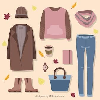 Zestaw ubrań i akcesoriów do jesieni