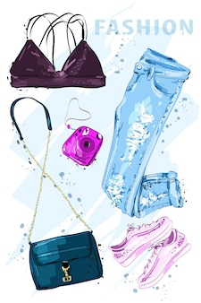 Zestaw ubrań kobieta moda i akcesoria