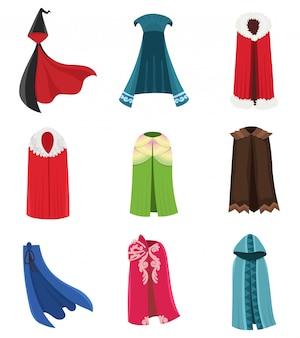 Zestaw ubrań na cloaks i kostium na peleryny. tkanina zewnętrzna