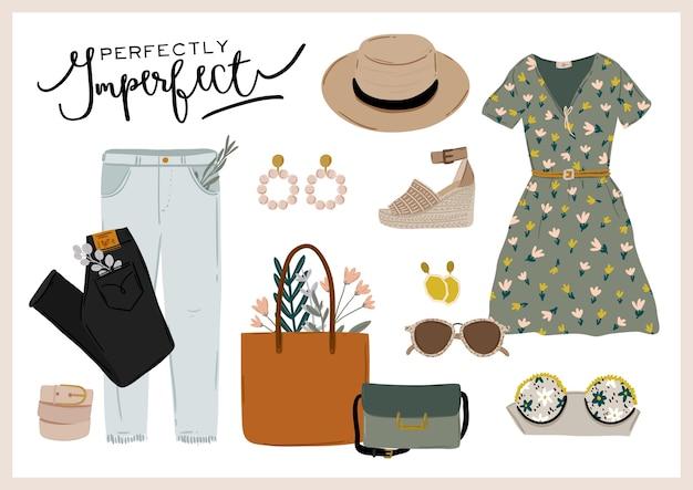 Zestaw ubrań na lato. modne ubrania damskie, bielizna damska, kostium kąpielowy, czapka, torba, buty, akcesoria. cytaty kosmetyczne. ilustracja.