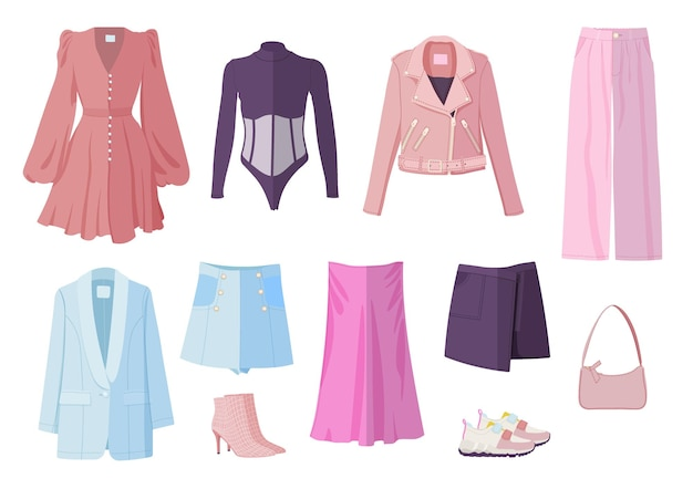 Zestaw ubrań z przypadkową kobietą wiosenne ubrania obuwie