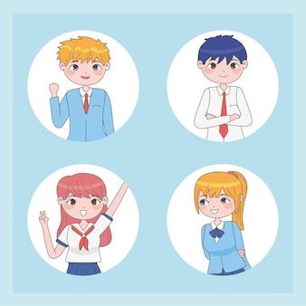 Zestaw uczniów w stylu manga w białe kółka