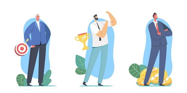 Zestaw udanych mężczyzn. biznesowe postacie z celem, złotym trofeum i pieniędzmi. biznesmeni na szczycie sukcesu, przywództwa, osiągania celów, strategii marketingowej. ilustracja wektorowa kreskówka ludzie