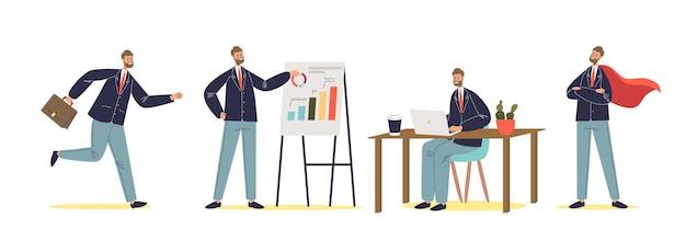 Zestaw udanych pozach biznesmena: bieganie, prezentowanie planu, praca na laptopie i noszenie czerwonej peleryny. kreskówka biznes pracownik męski charakter. płaska ilustracja wektorowa