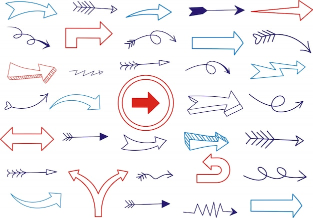 Zestaw uderzeń podkreślenia w stylu doodle różnych kształtów