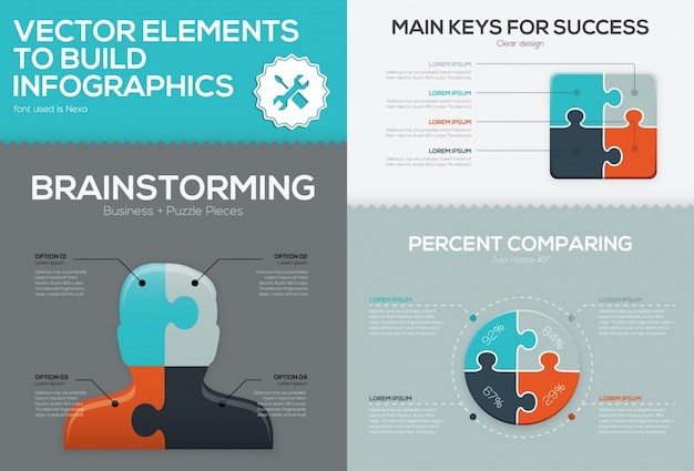 Zestaw układanki infographic firmy i puzzle układanki