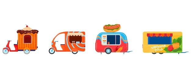 Zestaw ulicznych food trucków