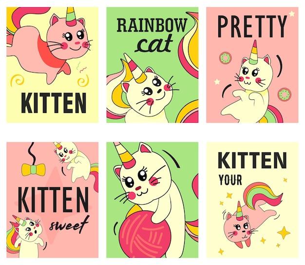 Zestaw ulotek kota jednorożca. śmieszne kreskówki letnie dziecko kotek z tęczowymi ilustracjami róg i ogon