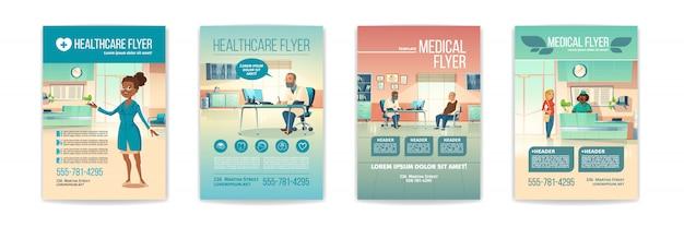Zestaw ulotek medycznych. plakaty dotyczące opieki zdrowotnej przedstawiające osoby w szpitalu, wnętrze przychodni z recepcjonistą na recepcji i wizyta u lekarza seniora. ilustracja kreskówka