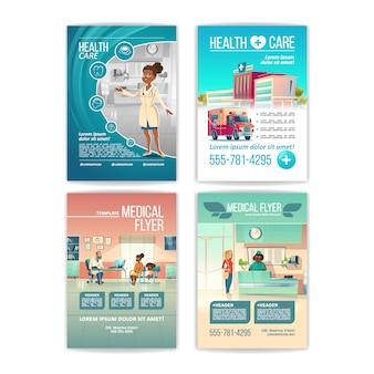 Zestaw ulotek medycznych. plakaty dotyczące opieki zdrowotnej